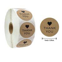 500 قطعة / لفة جولة شكرا لك كرافت ورقة يدوية مع الحب ملصقات ختم ملصقات للحرف مربع الخبز منتجات هدية