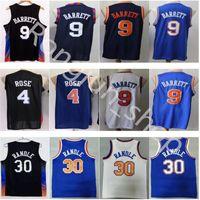 2021 Basketbol Formaları 4 Derrick 9 RJ Gül Barrett 30 Julius Randle Retro Walt Frazier 10 Jersey En Kaliteli Dikişli Siyah Şehir Mavi Beyaz Adam Boyutu: S-XXL