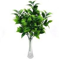 Decorative Flowers & Wreaths 34CM 7 Branch Green Artificial Plant Palm Tree Fake Leaf Plastic Eucalyptus Orange Home Office Garden Decoratio