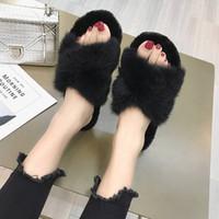 Zapatillas para mujer Invierno peludo diapositivas esponjosos zapatillas piel suave zapatos planos suaves divertidos zapatos interior Panteffels Dames 4196 25U5 #