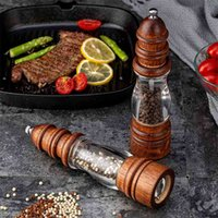 Твердые древесины перец измельчитель Pulverizer Mill соль и шейкеры Установить приправа бутылки распылитель кухонные специи 210712