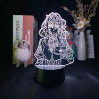 أضواء الليل 7 اللون مع البعيد 3d مصباح البنفسجي evergarden الإسقاط ضوء المنبه قاعدة delineascope اليابانية أنيمي