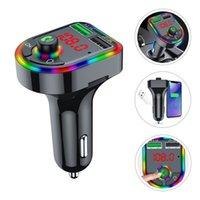 Автомобильное USB-зарядное устройство Bluetooth 2 Port Aux Wireless Wireless Handfree Kit FM-передатчик с красочными Ambient Light LED дисплей MP3 Audio Music Player