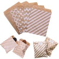 20-25pcs 18 * 13cm Bolsa de papel de papel Kraft Stripe de onda Bolso de regalo de la boda para la boda Candy Candy Bey Bag Navidad Party Wrapping Supply