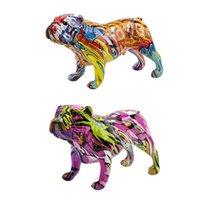 Creative Color Bulldog Chihuahua Statua di cani Statua della figurina Resina Scultura Home Office Bar Store Decoration Ornament Artigianato