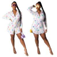 تصميم الأزياء ملابس النساء مثير عارضة إلكتروني الرقمية المطبوعة قمصان طويلة الأكمام اللباس زائد حجم S-2XL