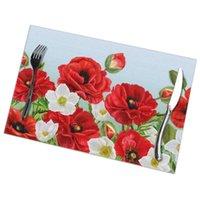 Mats Pads 6 PCS Placemat Floral Border Poppies Rojo Flores y anémonas blancas Tela Tela Vajilla Herramienta de cocina