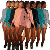 Women casual tops suits two piece set Tracksuits Shorts outfits long sleeve jogging sportsuit sweatshirt sport suit S-XXL