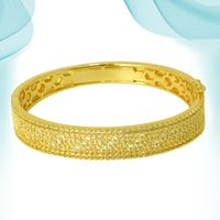 Fashion Charm Diamond Bangle Luxury Gold Color Glossy Natural Stones Punk Wedding Birthday Retro Copper Metal Bracelets for Girls Accessory On Hand
