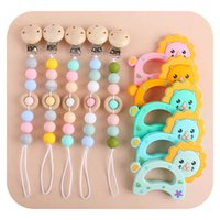 Baby Pacifier Chain Clips Holders Weaning Natural Wooden Pacifiers Silicone Teething Beads Newborn Teeth Practice Toys 2Pcs Sets Infant Feeding B6430