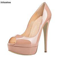 Attantou descuento nueva moda mujer bombas peep toe 14 cm zapatos de tacón alto zapatos de patente negra plataforma de tacón fino zapatos para mujer