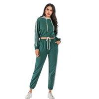 2021 موضة جديدة عارضة الرياضة الربيع والخريف جودة عالية الشوارع ارتداء مريحة المرأة نقية اللون هوديي البدلة B075