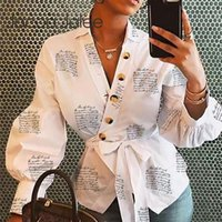 Women Letters Print Blouse Causal Spring Lantern Long Sleeve...