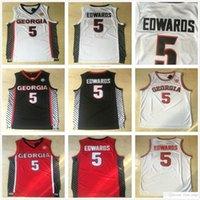 NCAA College Georgia Bulldogs # 5 Anthony Edwards Jersey Rot Weiß Blau Herren Nähed Anthony Edwards University Basketball Trikots Hemden