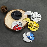 Pocket Round Folding Small Knife Keychain Key Ring Charm Hanging Coin For Outdoor Tactic Survival Self Defend Opener Parcel Letter Multi Tool