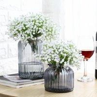 المزهريات وجيزة منضدية الزجاج زهرية المائية متعددة الألوان شفافة الزهور المجففة المنزلية تأثيث المنزل الديكور