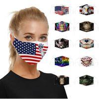 Designer Face Mask Skull Bandiera Digitale Stampa Digitale Maschere di cotone antipolvere PM2.5 Lavabile Ear Regolabile PACEMA SMASK Top vendita