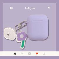 Para Airpods 2 Caso Corea Caja de dibujos animados de perro lindo Caja de aire Poders de lujo Flor Llavero Llavero Auriculares de silicona Funda para la cubierta de las vainas de aire de Apple