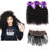 Bunky Brazilien Courby Humain Cheveux Bundles avec Cheveux Vierge Brésilien Frontal Weave Jerry Kinky Curly 3 Bundles avec 13x4 en dentelle frontale