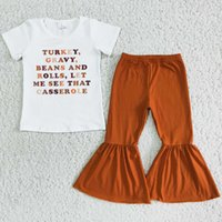 Wholesale Kids Designer Clothes Girl Sets Thanksgiving Day Toddler Girls Clothing Boutique Bell Bottom Outfits Turkey Fashion Kid Children Outfit Letter Print
