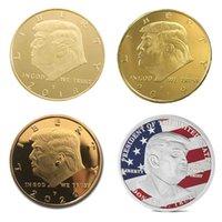 ファッションアートデコレーションドナルドトランプ記念コイン - 米大統領選挙ゴールドと銀の徽章メタルクラフト4スタイル卸売