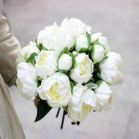 En Kaliteli Gerçek Dokunmatik PU Şakayık Çiçek Tomurcukları Buket 8 Kafaları Gelin Holding Çiçek Ev Yaşam Dekorasyonu Süsleme 50 Paketler