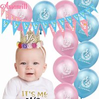 Party Decoration Amawill Half Birthday It's My 1 2 Banner Pink Blue Latex Balloons 6 Months Baby Shower Girl Boy Decorations 7D