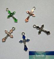 빈티지 Silverr Crucifixes Enamel 예수님 쥬얼리를위한 매력 펜던트 팔찌 공예품 수제 액세서리 DIY 선물