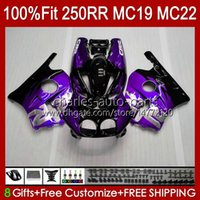 Body Kit Injektion för Honda MC19 CBR 250RR 250 RR CC 250R 88 89 karosseri 112HC.227 CBR250RR 1988 1989 CBR250 RR CC 1988-1989 CBR 250CC 88-89 OEM Fairing Dark Purple Blk