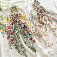 Корейский лук длинные ленты хвостики для волос для волос шифон цветочные принты сладостные эластичные волосы головные уборы для волос аксессуары для волос