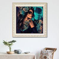 Diamond Painting Kits Cat Girl 5D DIY Full Drill Rhinestone Embroidery Cross Stitch Arts Craft Wall Decor KDJK2106
