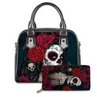 Mexican Sugar Skull Graphic Print Women Hand Bags 2021 Handbags Top Handle Shoulder Bag Tote Satchel Purse with Matching Wallets