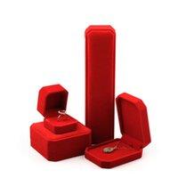 Caixas de armazenamento da exposição do armazenamento da exposição da exposição da exposição das jóias da jóia da cor vermelha para os pulseiras do colar de pingente dos pulseiras de braceletes Decoração festiva do casamento
