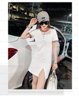 2021 new slim single-breasted dresses women's short color contrast knitted short-sleeved hip dress