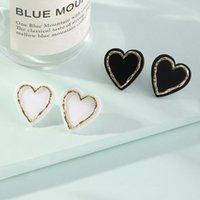 Stud Enamel Heart Earrings For Women Black White Color Love Couple Gifts Trendy Korean Simple Cute Romantic Jewelry Accessories