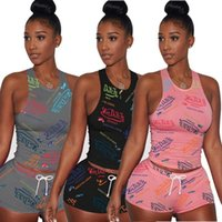 Letter Print Women's Tracksuits Sleeveless Drawstring Shorts Set Von Dutch Two Piece Outfit Sexy Shirt And Biker Short Cotton
