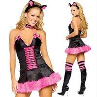 Сексуальные костюмы кружева сексуальное женское бельё Горячие эротические косплеи Catwoman Halloween Unify Deep V-шеи женское белье платье Babydoll секс костюм нижнее белье