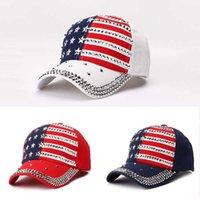 Fashion Home Rivets Trump Elección presidencial CAP Diamond Sparkles Sports Ball Hat Hat American Flag Outdoor Baseball Gorra
