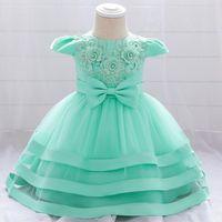 Vestidos da menina Yoliyolei menina vestido de bola vestido bebê lua cheia com laço criança princesa festa de aniversário verão para crianças roupas