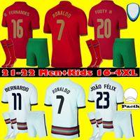 Männer Kinder Kit Portugues Ronaldo Fussball Jersey 2021 Joao Felix Diogo J Bernardo 21 22 Fernandes National Team Football Hemd