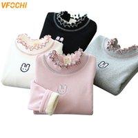VFOCHI Winter Girl Long Sleeve T Shirt Cotton Velvet Lining Kids Undershirt 2-10 Girl Tops Clothes Turtleneck Warm Girl T Shirts Q0202