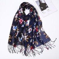 Шарверы, продающие цветочный напечатанный шарф женский осень осень зима вискоз хлопчатобумажный хиджаб мусульманские женские длинные исламские бандана 180 * 65см