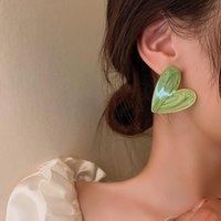 Stud Design Green Heart Earrings