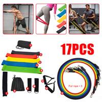 17-piece VIP Drop Shipping 17 Adet Çekme Halat Spor Egzersizleri Direnç Band Seti Eğitim Yoga Bant Spor Salonu Fitness Ekipmanları Muslce 201109