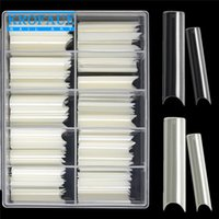 200PCS Box C Curved Straight Fake Nails Manicure Natrual Clear Art Artificial Acrylic Tools Press On Tips Salon Supply