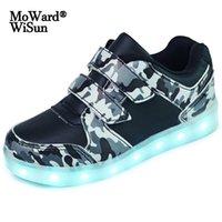 사이즈 25-37 어린이 소년 소녀에 대 한 신발을 주도하는 USB 충전기 Schoenen Kids Chaussure enfant 빛나는 빛나는 스 니 커 가벼운 솔 210303