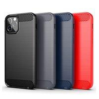 Bouclier robuste Sot antichoc TPU TPU brossé Fibre de carbone Fibre de téléphone portable pour iPhone 12 11 PRO XS Max Mini XR 8 7 6 Plus Couvercle de téléphone portable ultra mince d'épaisseur de 1,8 mm