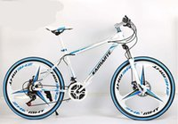 26 inch 21 speed white blue three knife one wheel mountain bike adult cross country bicycle high carbon steel mountain bike