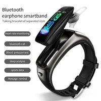 """Venta al por mayor TB02 Bluetooth Auricular Pulsera inteligente 2 en 1 Reducción de ruido con MIC 0.96 """"Tasa cardíaca Presión arterial Smart Band Music Headsets"""