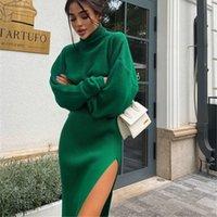 Sexy Long Sweaters Split Skirt 2 Piece Set High Collar Loose Pullover Top Sweater Autumn Winter Women Streer Style